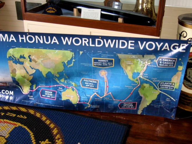 As we waited in line, a crew member told us about their current voyage down the California coast, and explained this map of an earlier ocean journey. Their next voyage will be around the Pacific Rim, including a visit to Alaska.