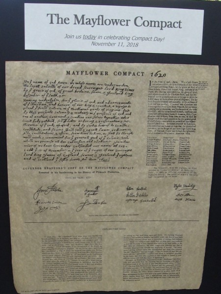 The Mayflower Compact, signed aboard ship, was the first governing document of Plymouth Colony. It specified basic laws and social rules for the new colony.
