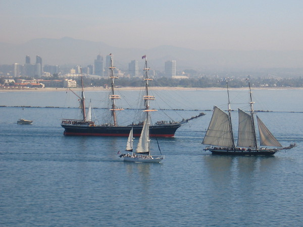 Star of India and Californian head south along the channel out of San Diego Bay, out into the Pacific Ocean.