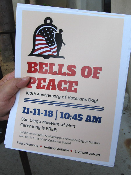 Bells of Peace rang out for the 100th Anniversary of Veterans Day! A special ceremony was held in front of the Museum of Man.