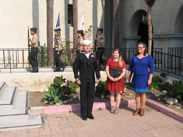 The patriotic Color Guard, from Ramona High School's NJROTC, moves forward as the ceremony begins.