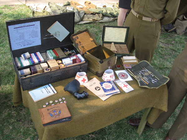 Medical items used by the American Red Cross, who aided suffering soldiers during wars of the 20th century.