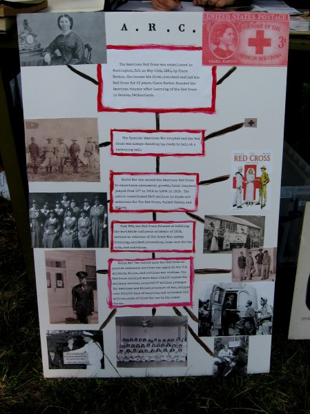 A timeline depicts the history of the American Red Cross through World War Two. The organization was established in 1881 by Clara Barton.