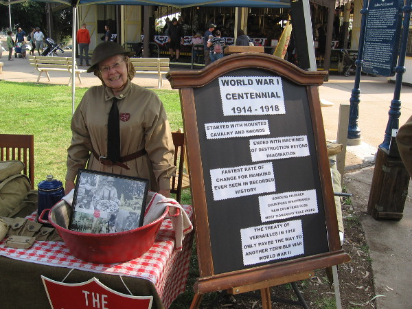 This friendly lady's display concerned the Salvation Army. A sign shows some basic facts about World War I.