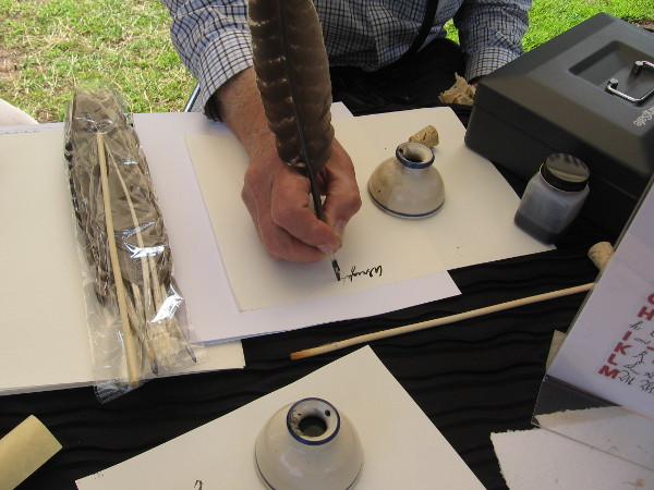 One gentleman was demonstrating the use of a quill and inkwell. I learned ink was often made from berry juices, and turkey and goose feathers were primarily used for quills.