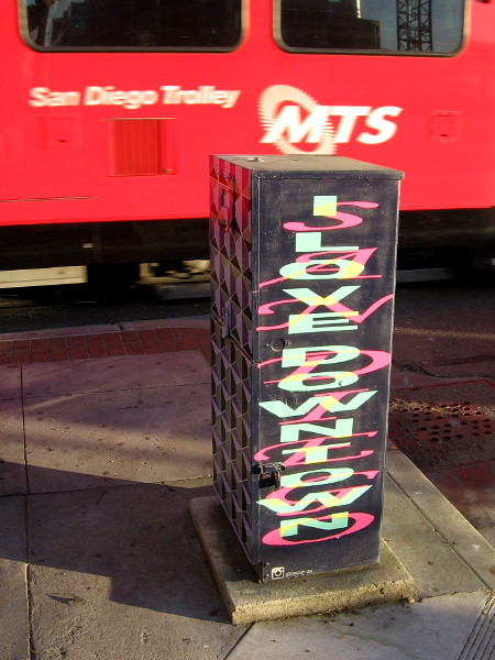 Some street art recently painted on a sidewalk utility box. I Love Downtown San Diego.