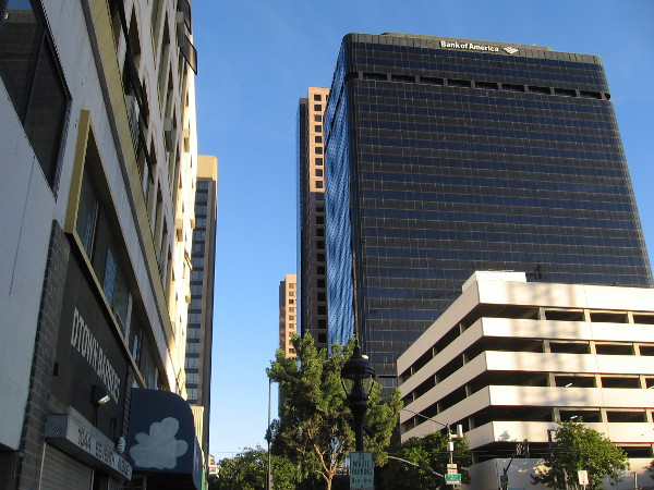 Looking north up Seventh Avenue through San Diego's Financial District.