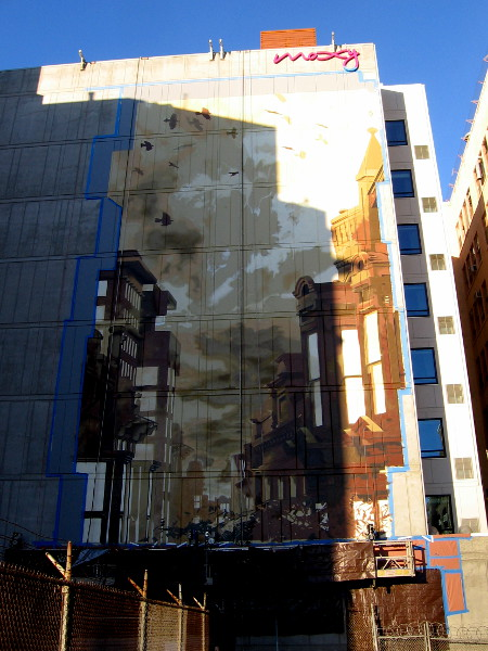 A huge mural is now being painted on the rear of the Moxy San Diego Gaslamp Downtown! It appears to depict the Gaslamp Quarter.