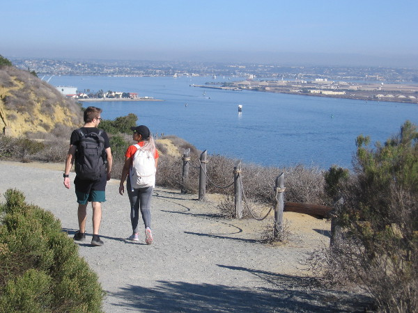 The north part of San Diego Bay, visible from the Bayside Trail. In the distance, with other historic ships, Star of India makes its way around North Island.