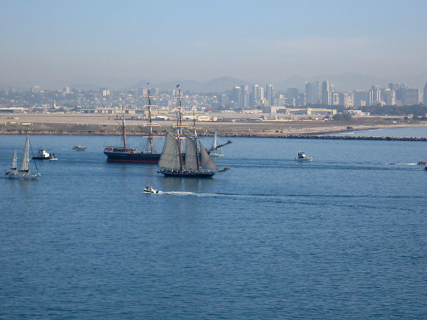 The downtown San Diego skyline behind Star of India and Californian.