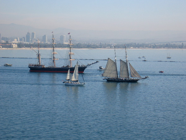 Star of India, oldest active sailing ship in the world, and Californian enter the Pacific Ocean together.