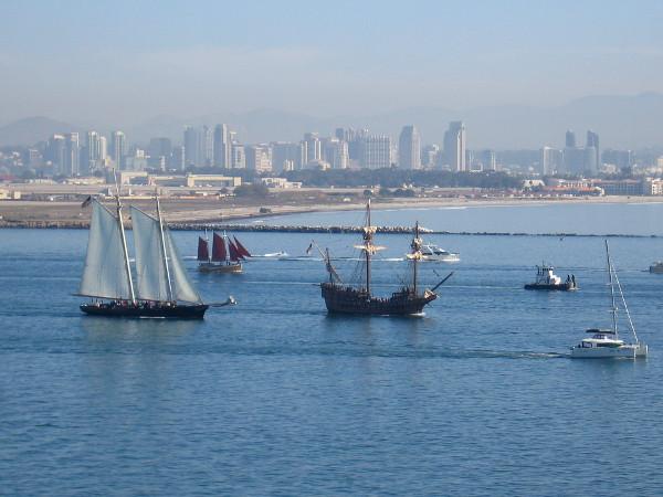 Behind come America, Cloudia and galleon San Salvador.