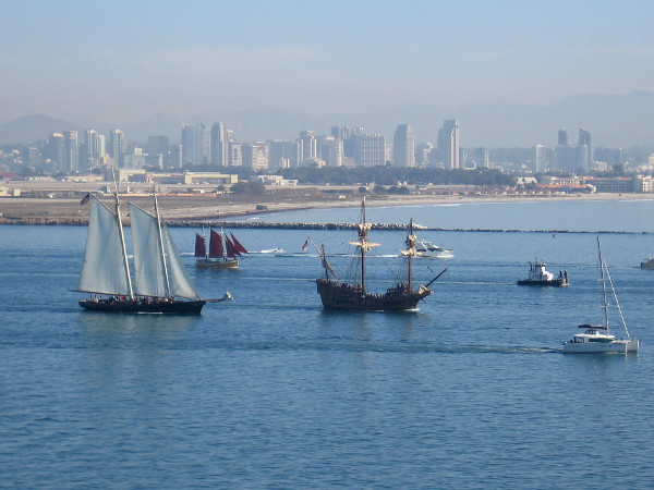 Behind come America, Cloudia and galleon San Salvador.