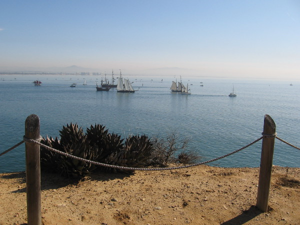 A view of the beautiful tall ships from Cabrillo National Monument's Bayside Trail.