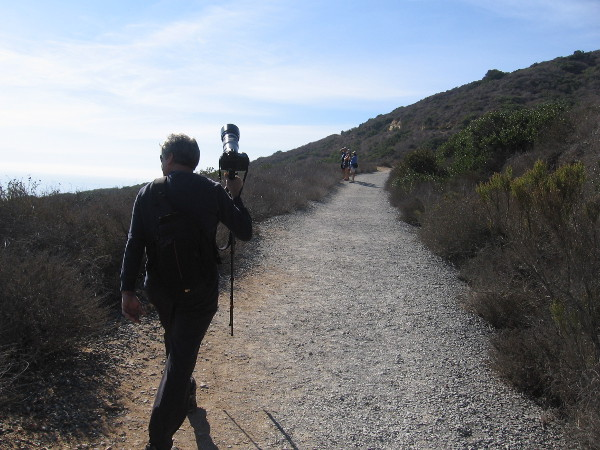 I and a few other photographers head back up the Bayside Trail to get more photos as the ships head out to sea.