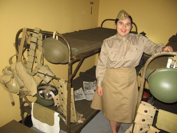 A friendly docent shows me the bunkroom, where those who manned the bunker took turns sleeping.