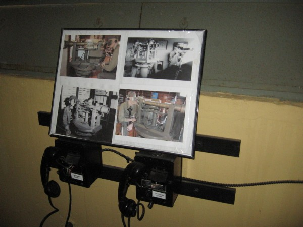 Old photos above two phones show the operation of azimuth scopes in a Base End Station.