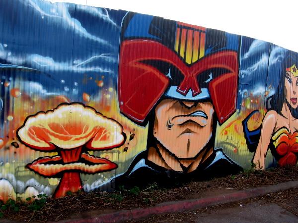 Judge Dredd street art by Fizix.