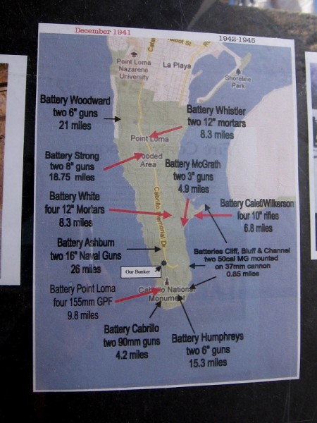 Sign shows the different battery positions on Point Loma during World War II. Battery Ashburn's two 16 inch naval guns had a range of 26 miles.