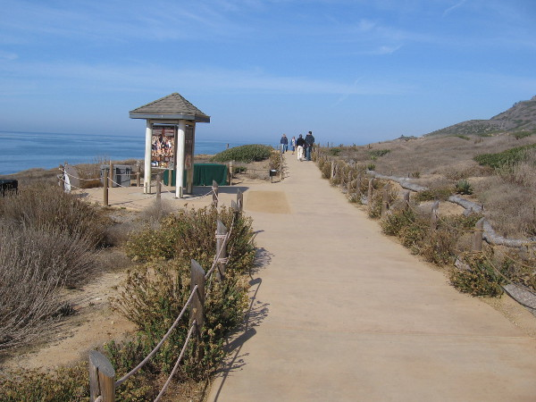 Starting down the path from a parking lot to the Point Loma Tide Pools at Cabrillo National Monument.