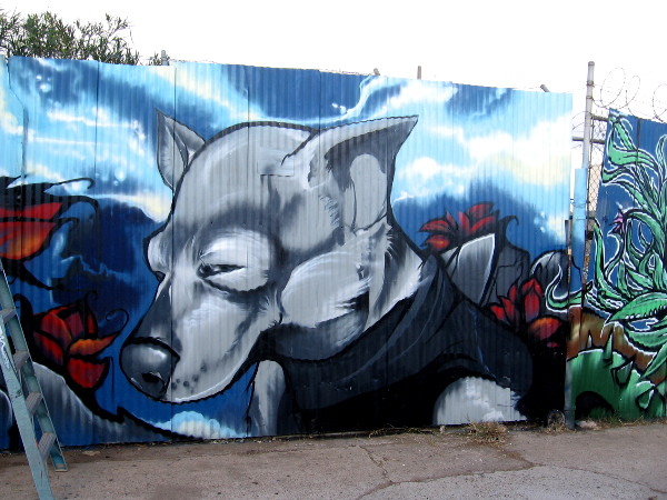 Another neighbor in Logan Heights has a dog that resembles this cool spray paint artwork by Fizix!