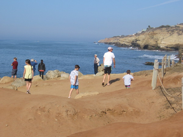 Families enjoy the warm sunshine and smell of the ocean. This photo looks north along the sandstone cliffs of Point Loma.