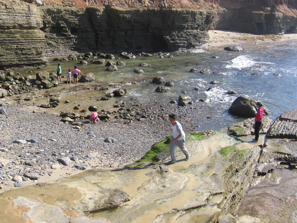 In a couple hours even more tidepools will appear. Low tide is the best time to explore the rocky pools of captured water.