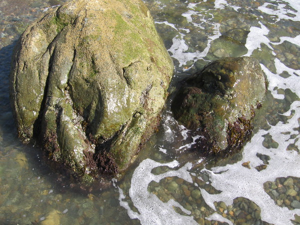 The patient sea washes against these rocks, doing its slow work over the course of countless lifetimes.