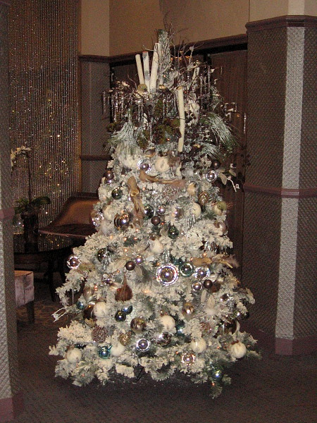 One of several creative, elegant Christmas trees in the lobby of The Sofia Hotel.