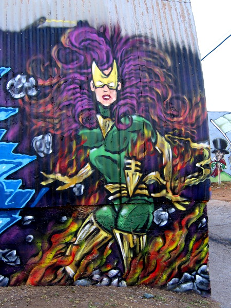 Jean Grey as Phoenix street art in Logan Heights.
