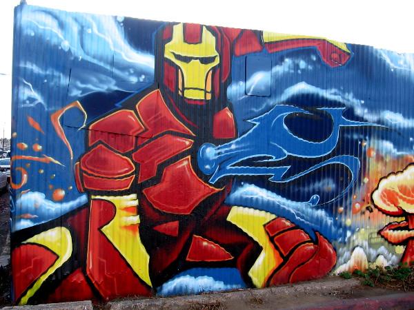 Iron Man street art by Fizix.