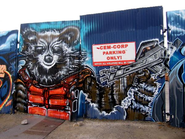 Rocket Raccoon street art by Fizix.