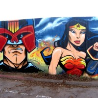 Cool comic book and superhero street art!