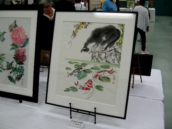 Amazing artwork displayed inside the Casa del Prado for the 43rd Annual Sumi-e Ten Japanese Brush Painting Exhibition.
