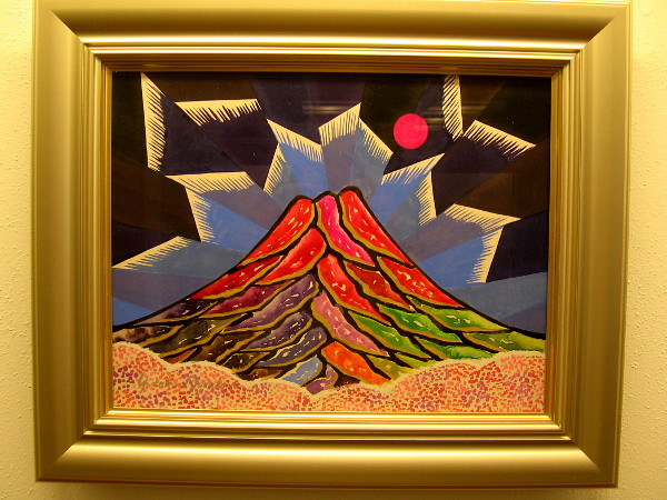A colorful painting of Mt. Fuji by Yutaka Murakami in the Exhibit Hall at the Japanese Friendship Garden.