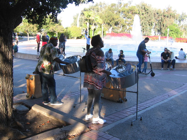 Steel drums add flavor to the Plaza de Balboa near the Bea Evenson Fountain.