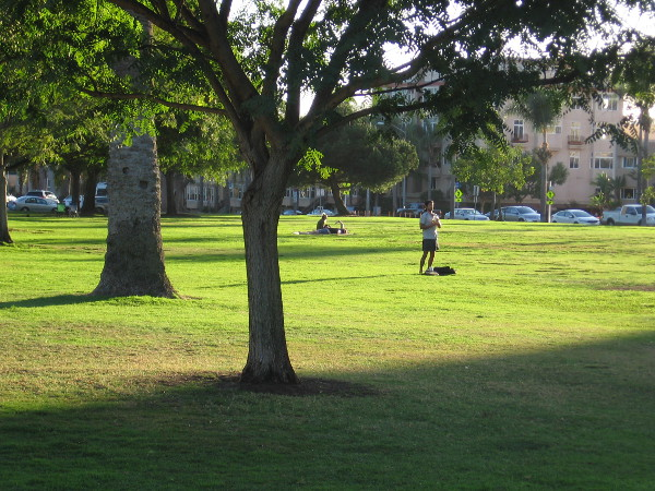 Enjoying peace and warm sunlight on the grassy West Mesa of Balboa Park.