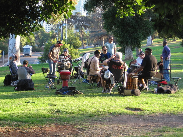 A drum circle in Marston Point, like the joyful, beating heart of Balboa Park.