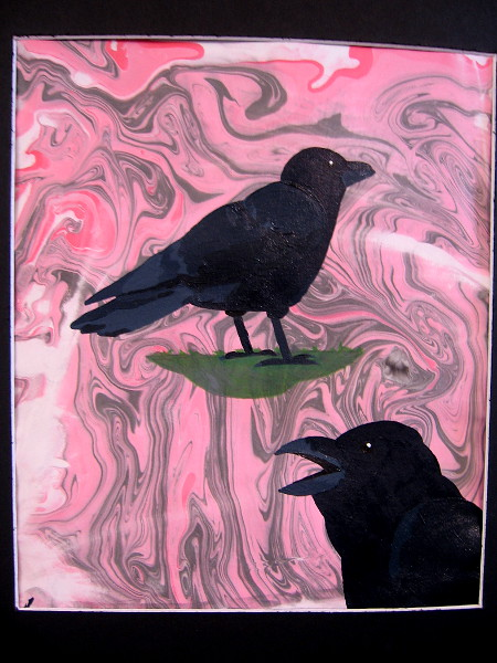 Quoth the Raven, Amalia Browning, suminagashi ink, acrylic paint. Monte Vista High School.