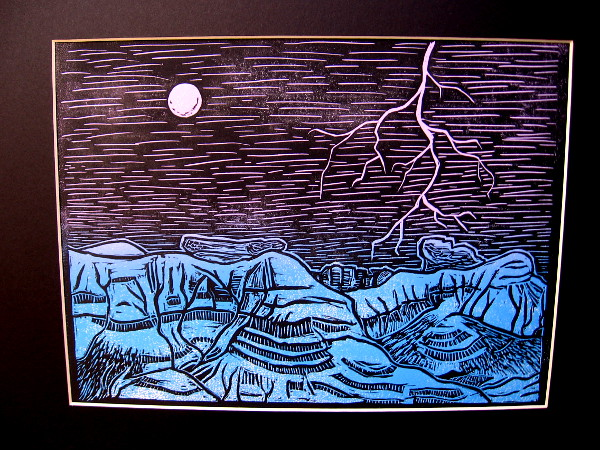 Moonrise, Brooke Moran, linoleum print. Steele Canyon High School.