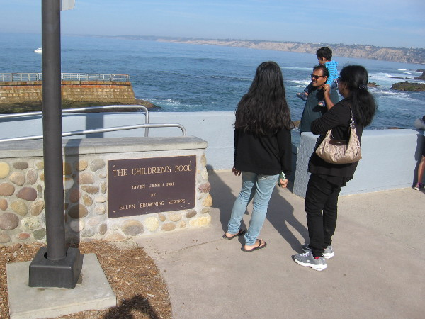 The Children's Pool breakwater was built in 1931. It was a gift to La Jolla by journalist and philanthropist Ellen Browning Scripps.