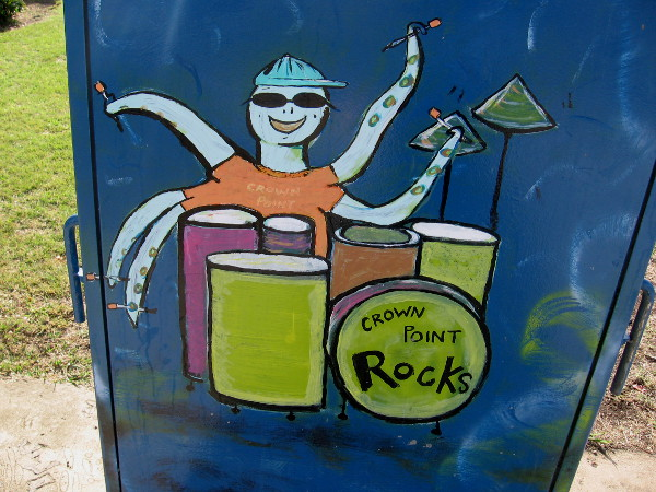 A cool octopus kid plays drums. Crown Point Rocks!