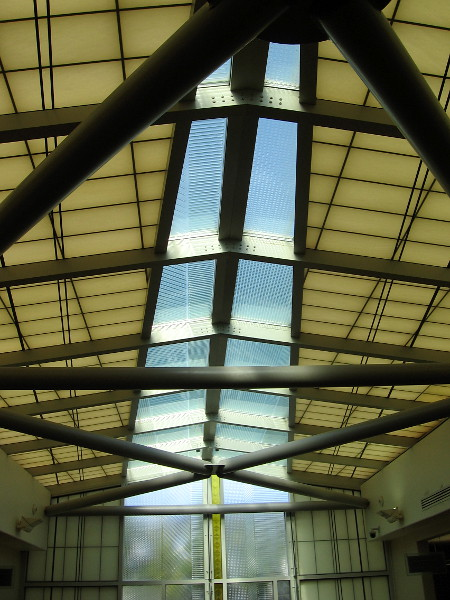 Looking up at the stunning skylight.
