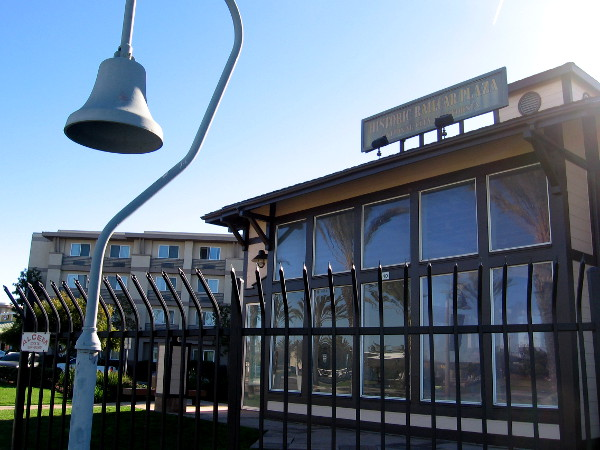 After I crossed Bay Marina Drive, I spotted an iconic El Camino Real bell near the National City Historic Railcar Plaza.