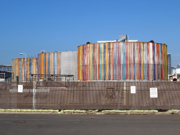 Sweet Contents is the title of public art that has added color to three storage tanks at the Tenth Avenue Marine Terminal.
