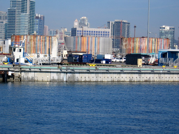 Photo of Sweet Contents from the pier at Cesar Chavez Park. Downtown buildings are visible beyond the Tenth Avenue Marine Terminal.