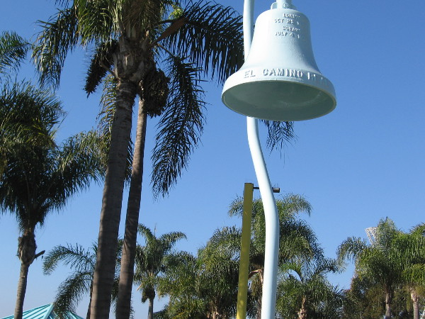 El Camino Real bell in Cesar Chavez Park in Barrio Logan.