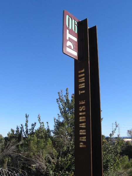 Here's another marker for the Paradise Trail, which I spotted as I headed down Marina Way.