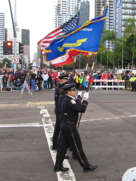 The San Diego Harbor Police Honor Guard helps to lead things off.