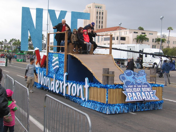 San Diego County Supervisor Ron Roberts waves from the Wonderfront float. San Diego's waterfront is indeed full of wonders!